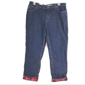 Cabelas Flannel Lined Dark Wash Jeans NEW Sz 18